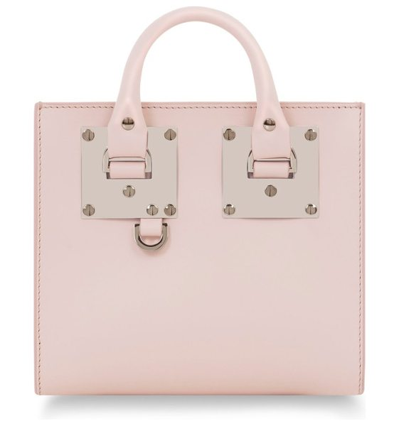 Sophie Hulme albion leather box tote in blossom pink - British designer Sophie Hulme's classic sensibility is...