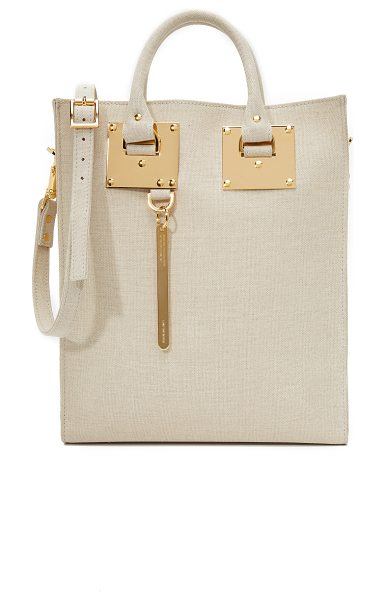 Sophie Hulme Canvas mini tote bag in sand - A classic Sophie Hulme tote, updated in canvas. Unlined,...
