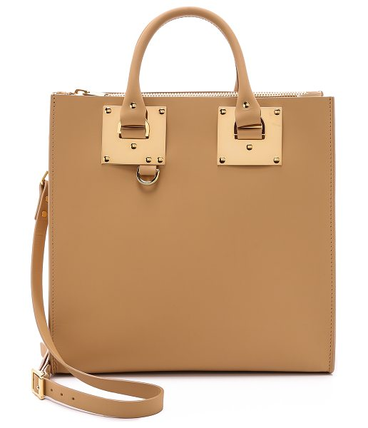 SOPHIE HULME Large square tote in camel - Polished hardware brings luxe shine to this leather...