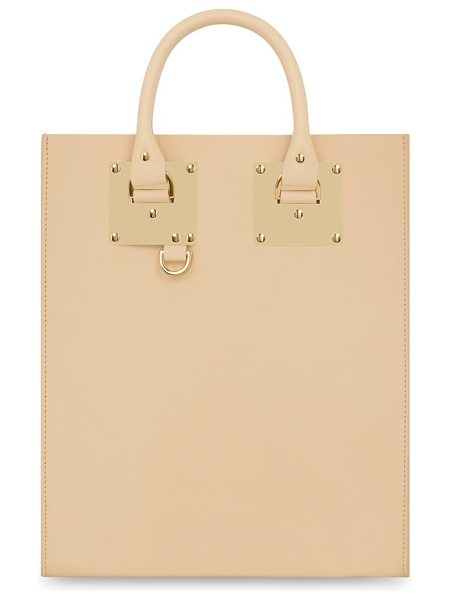 Sophie Hulme Mini albion tote in nude - Signature goldtone plates echo the clean lines of a...