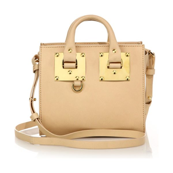 Sophie Hulme Mini leather box tote in nude - Petite yet packed with style, this mini leather tote...
