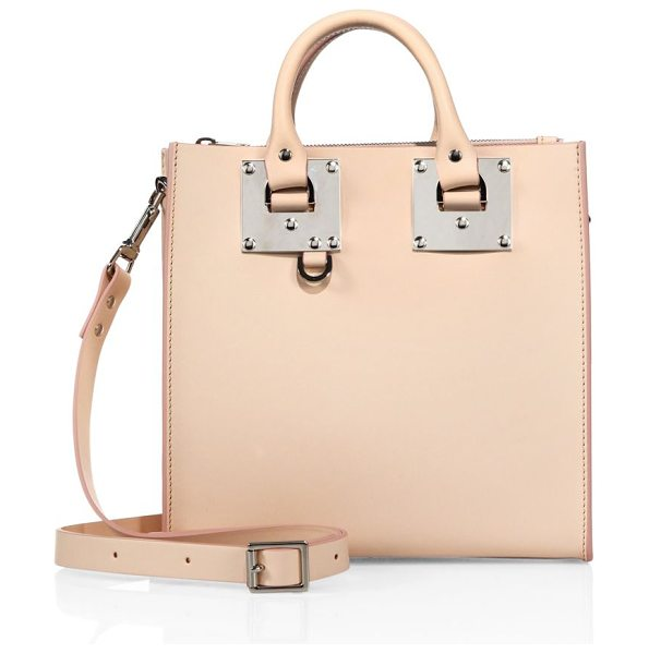 SOPHIE HULME mini leather box tote in blossom pink - Mini boxy silhouette with signature oversized hardware....