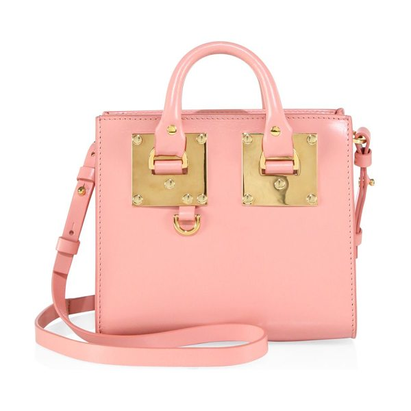 Sophie Hulme mini leather box tote in pink - EXCLUSIVELY AT SAKS FIFTH AVENUE IN BLUSH BLUE. Mini...