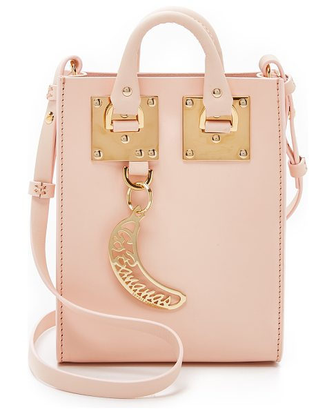 SOPHIE HULME Nano tote in blossom pink - A tiny Sophie Hulme tote rendered in smooth leather with...