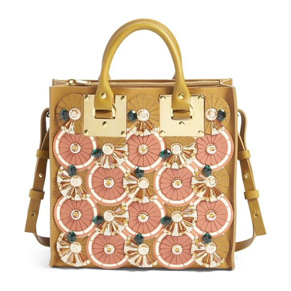 Sophie Hulme Albion- orange slice crystal embellished square tote in citrus/ summer tan - Sophie Hulme's key inspiration for spring-the geometry...