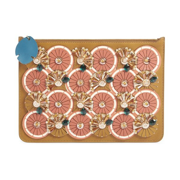 Sophie Hulme Orange slice embellished clutch in citrus/ summer tan - A radiant array of stylized citrus slices-complete with...