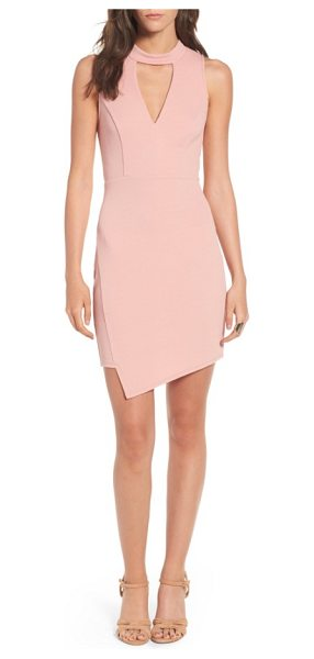 Soprano asymmetrical body-con dress in dusty pink - Front and back cutouts and an asymmetrical hem sharply...