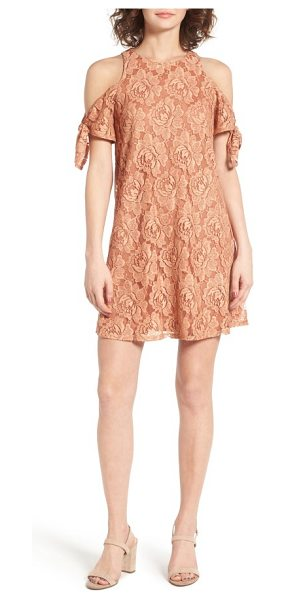 Soprano cold shoulder lace dress in dusty coral - Show off your shoulders in the prettiest way possible...