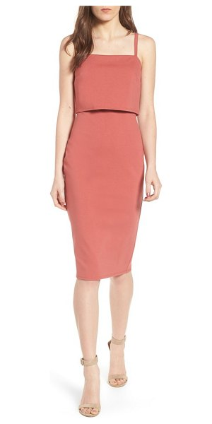 SOPRANO popover midi body-con dress - A cropped split-back overlay at the bodice adds a...