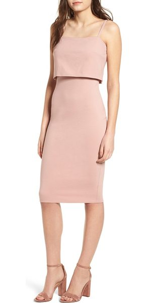 Soprano popover midi body-con dress in wild rose - A cropped split-back overlay at the bodice adds a...