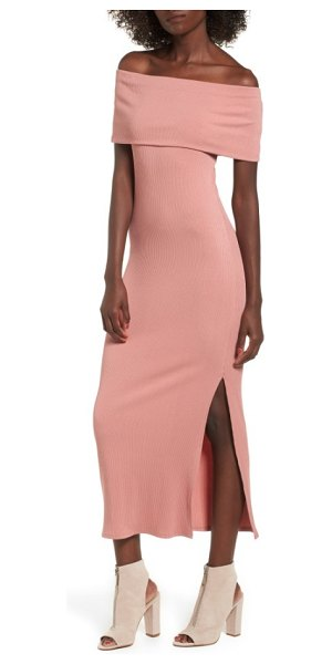 Soprano foldover off the shoulder ribbed maxi dress in salmon - Flaunt it in a finely ribbed maxi dress that offers...