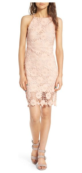 Soprano high neck lace body-con dress in pink - A perfect balance of sweetness and sassiness, this...