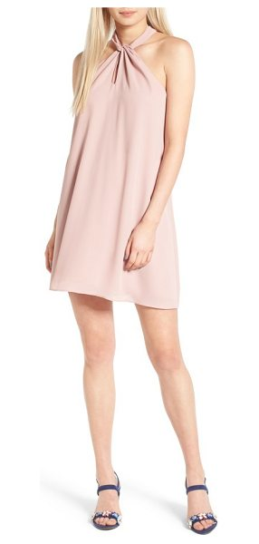 Soprano knotted high neck shift dress in pink cupcake - A high, knotted neckline adds elegant embellishment to...