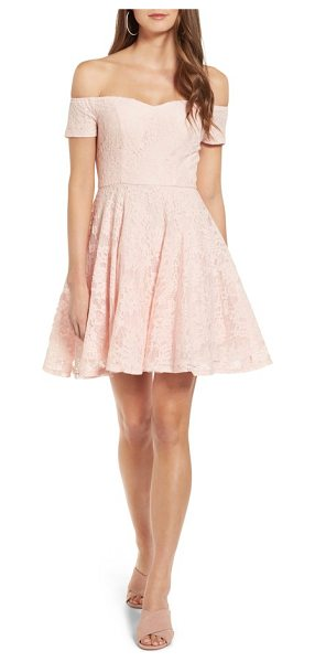 Soprano lace off the shoulder fit & flare dress in blush - A floral lace overlay enhances the feminine charm of a...