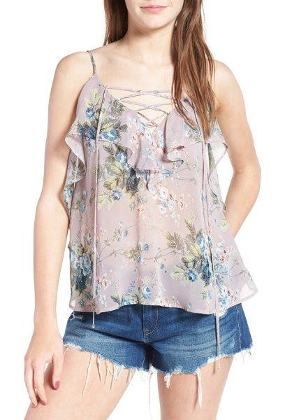 Soprano lace-up ruffle tank in pink - Embrace the romance of the season in this pretty...