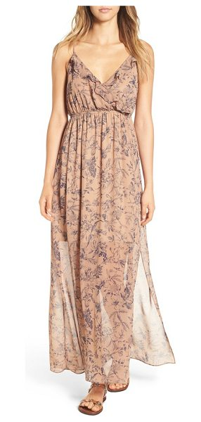 SOPRANO print maxi dress in brown/ blue - Subtle ruffles highlight the gracefully overlapped...