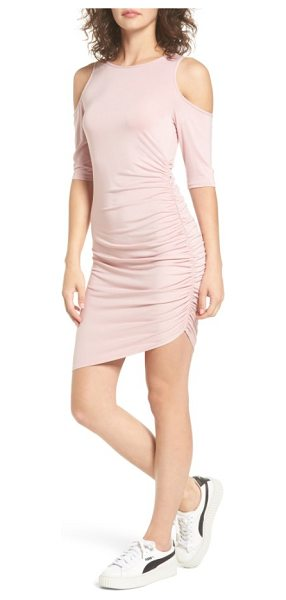 Soprano ruched cold shoulder dress in pink smoke - Ruched at the side to create a curve-flaunting,...