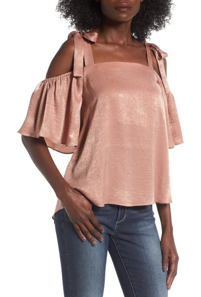 Soprano satin cold shoulder top in salmon - Cut from lightweight satin for a bit of shimmer and...