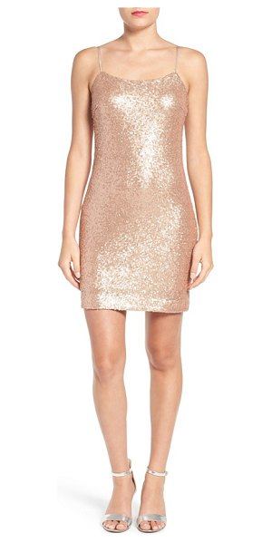 Soprano sequin slipdress in rose gold - Sparkling allover sequins add an otherworldly glow to a...