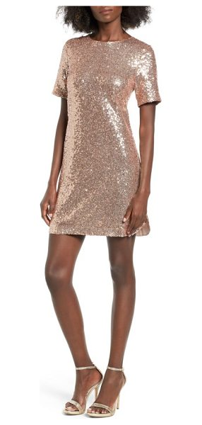 Soprano sequin t-shirt dress in blush - Allover sequins add an otherworldly glow to a...