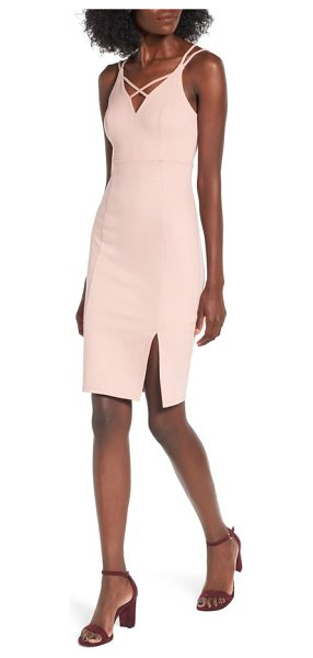Soprano strappy body-con dress in dusty rose - Curved princess seams sculpt a svelte silhouette in this...