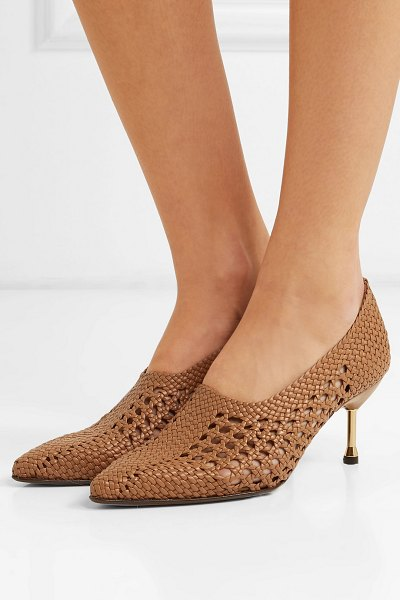 Souliers Martinez menorca woven leather pumps in camel - After French shoe designer Julien Martinez went on a...