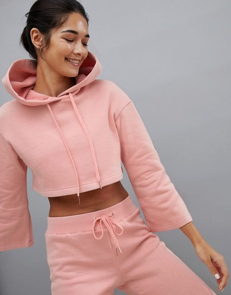 South Beach bell sleeve crop hoodie in blush in pink - Hoodie by South Beach, Takes you from match to meal...
