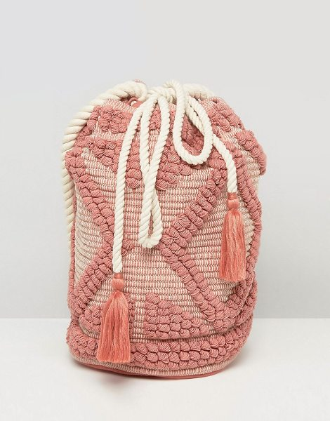 "SOUTH BEACH Drawstring Shoulder Bag In Lullaby Pink - """"Cart by South Beach, Textured cotton outer, Canvas..."