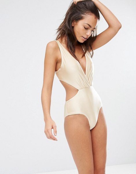 South Beach Metallic Plunge Tie Back Swimsuit in gold - Swimsuit by South Beach, Plain stretch-swim fabric,...