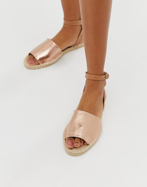 South Beach rose gold espadrille sandal in gold