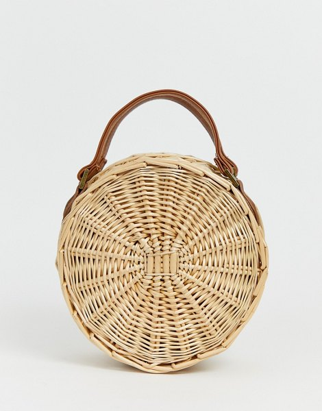 South Beach round straw beach bag with cross body strap in beige