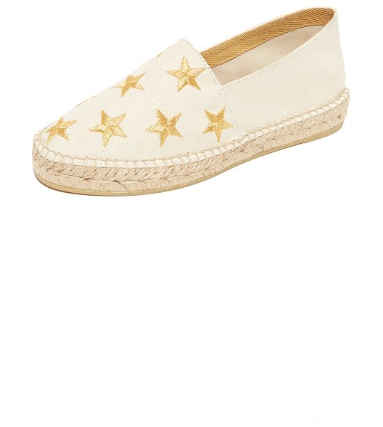 South Parade star embroidered espadrilles in beige/gold - Embroidered stars accent these canvas South Parade...
