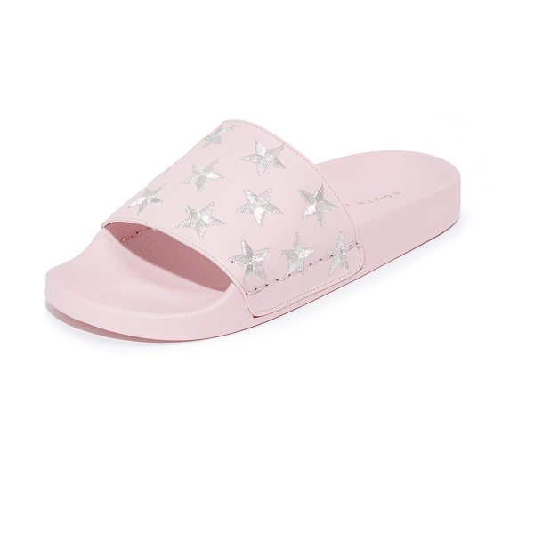 South Parade stars pool slides in pink/silver - Embroidered, metallic stars accent these leather South...