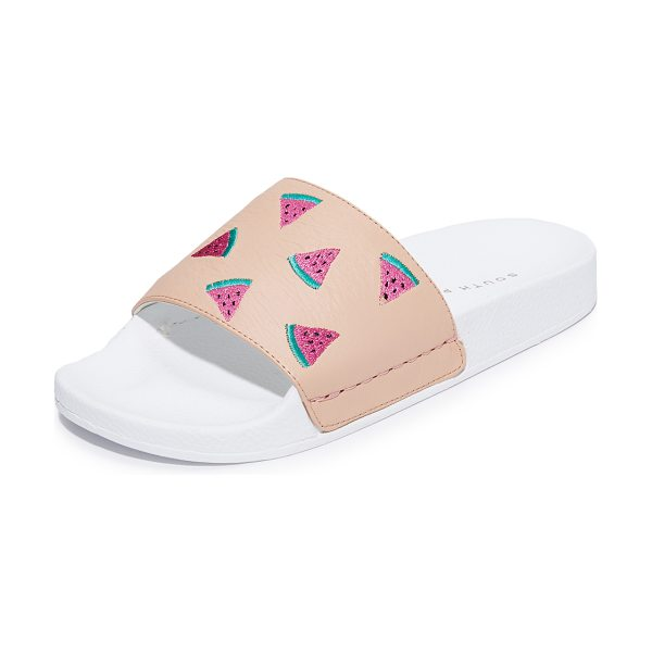 South Parade watermelon pool slides in rose/white - Embroidered watermelons add a playful feel to these...