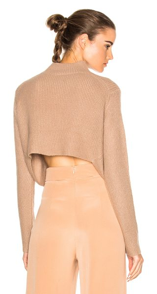SOYER Crop Sweater in neutrals,brown - 100% cashmere.  Made in China.  Dry clean only.  Rib knit fabric.