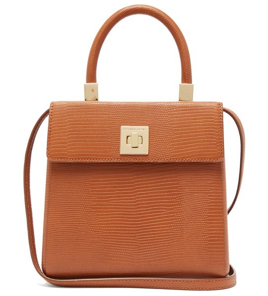 Sparrows Weave the classic lizard-embossed leather top-handle bag in tan