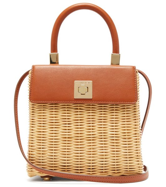 Sparrows Weave the classic wicker and leather top-handle bag in tan