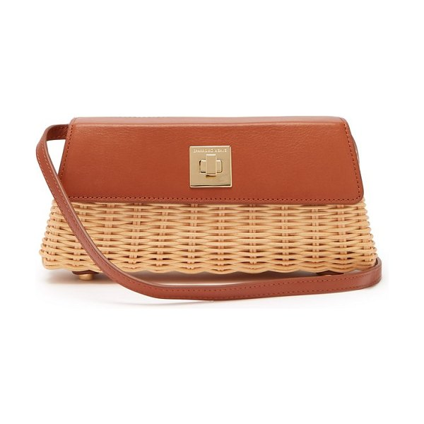 Sparrows Weave the clutch wicker and leather cross-body bag in tan