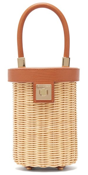 Sparrows Weave the cylinder lizard-embossed leather bag in tan