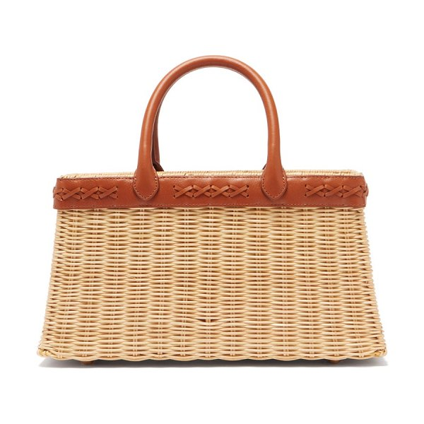 Sparrows Weave the tote wicker and leather basket bag in tan