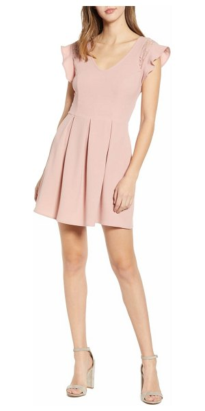 Speechless crepe flutter sleeve fit & flare dress in pink