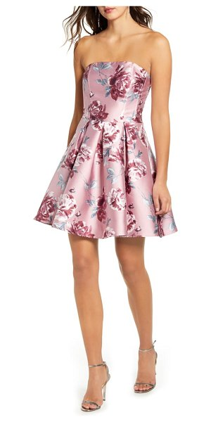 Speechless floral print strapless fit & flare minidress in pink