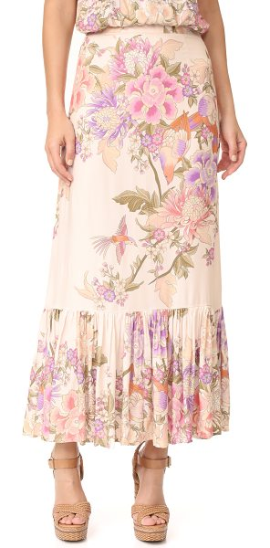 Spell blue skies split skirt in cream - A pleated SPELL skirt with a romantic floral print and...
