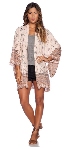 SPELL & THE GYPSY COLLECTIVE Coyote Short Kimono - 100% rayon. Hand wash cold. Kimono sleeves. Self tie...