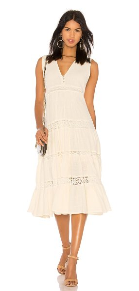 Spell & The Gypsy Collective Doe Eyed Midi Dress in cream - Cotton blend. Hand wash cold. Fully lined. Partial front...