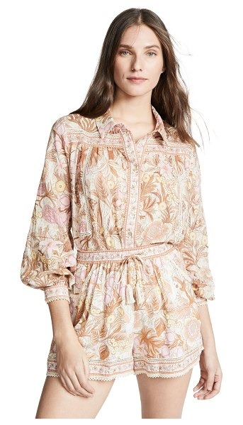 Spell & The Gypsy Collective jungle blouse in cream - Fabric: Chiffon Lace trim Curved hem Waist-length style...