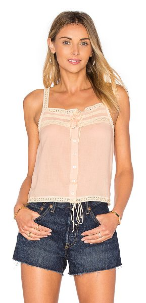 Spell & The Gypsy Collective Prairie Lace Top in blush - 65% poly 35% cotton. Hand wash cold. Front button with...