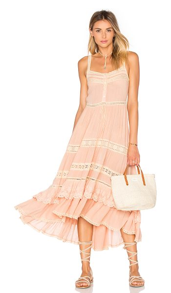 Spell & The Gypsy Collective Prairie sun dress in blush - 65% poly 35% cotton. Hand wash cold. Unlined. Front...