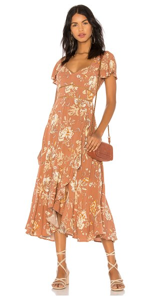 Spell & The Gypsy Collective Rosa Garden Party Dress in brown - Rayon blend. Hand wash cold. Unlined. Lattice and lace...