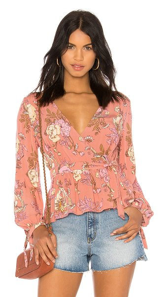 Spell & The Gypsy Collective Rosa Wrap Blouse in blush - Rayon blend. Hand wash cold. Wrap front with tie...